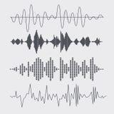 Schallwellen des Vektors eingestellt Musik Vektor Stockbild