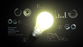 Schalten Sie Birnenlicht und verschiedene wirtschaftliche Diagramme und Diagramme, Ideenkonzept ein stock video