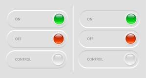 Schalterknöpfe mit Kontrollen Stockfotos