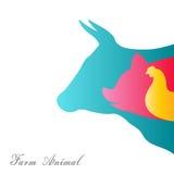 Schaltgruppe der Farm der Tiere auf einem weißen Hintergrund Stockbilder