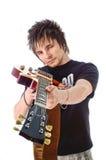 Schalthebel mit elektrischer Gitarre stockfotos