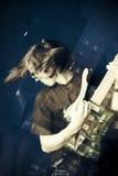 Schalthebel und Gitarre Stockbild