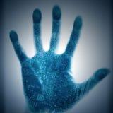 Schaltkreistechnik-Menschenhände lizenzfreie abbildung