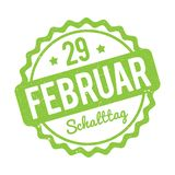 Schalttag 29 Februar Stempel German green on a white background. Royalty Free Stock Photo
