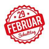 Schalttag 29 Februar Stempel German red on a white background. Royalty Free Stock Images