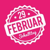 Schalttag 29 Februar Stempel German white on a pink background. Stock Photography