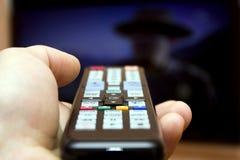 Schaltungen der Kanäle des Fernsehapparates Stockfotografie