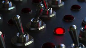 Schaltungskippschalter auf einem Bedienfeld, rotes Licht schaltet ein stock video