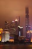 Schang-Hai Lujiazui alla notte Fotografia Stock Libera da Diritti