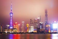 Schang-Hai Lujiazui alla notte Immagini Stock Libere da Diritti