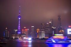 Schang-Hai Lujiazui alla notte Immagine Stock Libera da Diritti