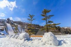 Schansgebied of skispringplanken tegen met sneeuw op het onderstel Stock Foto's