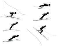 Schansspringen - pictogramreeks Stock Afbeelding
