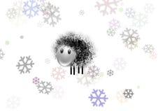 Schapen en sneeuw Royalty-vrije Stock Afbeeldingen