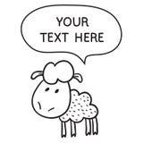 Schapen met toespraakbel Illustratiekaart met hand getrokken lam en bellentoespraak Stock Afbeelding