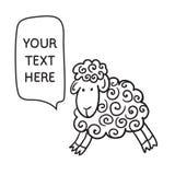 Schapen met toespraakbel Illustratiekaart met hand getrokken lam en bellentoespraak Stock Fotografie