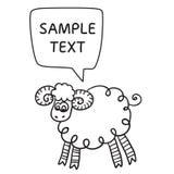 Schapen met toespraakbel Illustratiekaart met hand getrokken lam en bellentoespraak Stock Foto's