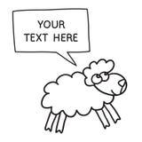 Schapen met toespraakbel Illustratiekaart met hand getrokken lam en bellentoespraak Stock Afbeeldingen