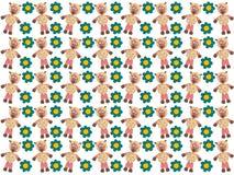 Schapen onder de bloemen Plasticine modellering Achtergrond royalty-vrije stock afbeelding
