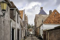Narrow street in fortified Elburg Royalty Free Stock Photos