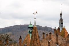Scharfe Dächer von Shenborn-Schloss, Ukraine lizenzfreie stockbilder