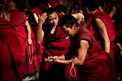 Scharfe debattierende Mönche Lhasa Tibet Sera Monasterys Lizenzfreie Stockbilder