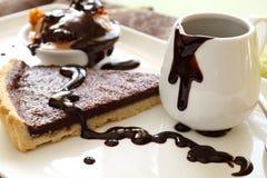 Scharfe Scheibe mit Schokolade stockfoto