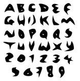 Scharfe Vektorgüsse des gruseligen Alphabetes im Schwarzen über Weiß Stockbilder