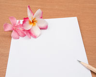 Scharfer Bleistift auf leerem Papier mit rosa Blume Lizenzfreie Stockfotografie