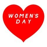 Scharfer Tipp des roten Herzens für den Tag der Frauen mit weißer Fülleunterzeichnung lizenzfreie abbildung