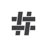 Scharfes Zeichen der Musik, hashtag Ikone, feste Logoillustration, Lizenzfreies Stockbild