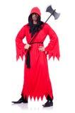 Scharfrichter im roten Kostüm mit Axt Lizenzfreie Stockfotos