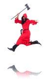 Scharfrichter im roten Kostüm mit Axt Lizenzfreies Stockbild