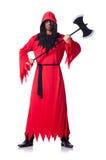 Scharfrichter im roten Kostüm mit Axt Lizenzfreie Stockbilder
