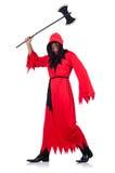 Scharfrichter im roten Kostüm mit Axt Stockbilder