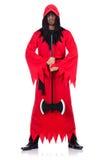 Scharfrichter im roten Kostüm mit Axt Lizenzfreie Stockfotografie