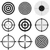Scharfschützebereich- und -schießenzielikonen Stockfotos