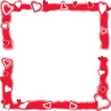 Scharlakansröd ram med hjärtor Royaltyfri Fotografi