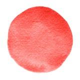 Scharlakansröd vattenfärgcirkel för röd flamma Akvarellfläck på vit bakgrund Royaltyfri Foto