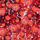Scharlakansröda rosblommor på texturerade burgundy marmorerar bakgrund royaltyfri illustrationer