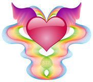 Scharlaken hart met vleugels Royalty-vrije Stock Afbeelding