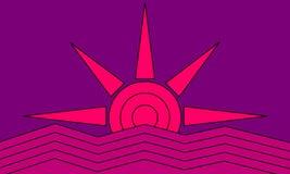 Scharlaken zonsondergang stock illustratie