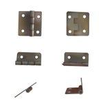 Scharnier voor deuren vectorillustratie Reeks van messing of brons industriële ironmongery vector illustratie