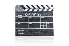 Scharnierventilbrett auf weißem Hintergrund Titel-Drama lizenzfreie stockfotos