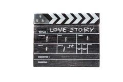 Scharnierventilbrett auf weißer Hintergrund Titel-Liebesgeschichte Stockbild