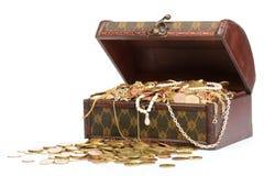 Schat met juwelen Stock Foto