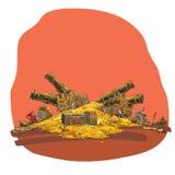 Schat van gouden muntstukken en piraatkanon Stock Afbeelding