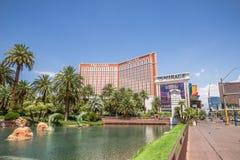Schateiland en het het Luchtspiegelinghotel en Casino Stock Foto's