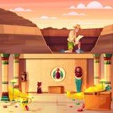 Schatjager die de vector van de faraoschatkist zoeken royalty-vrije illustratie