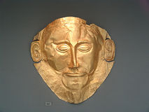 Schatkist van het gouden stuk van Atreus van Agamennon-masker Stock Foto